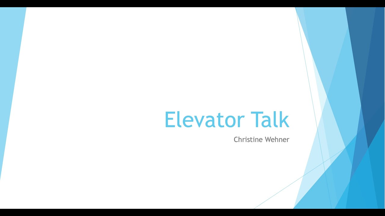 an elevator talk about the project by Christine Wehner