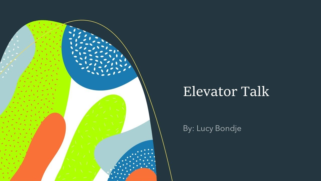 an elevator talk about the project by Lucy Bondje